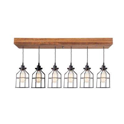 Wood Pendant Light with cages | Early American