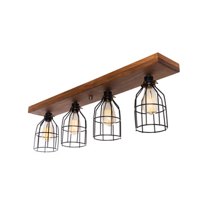 Wood Flush Mount Ceiling Light with cages | Early American