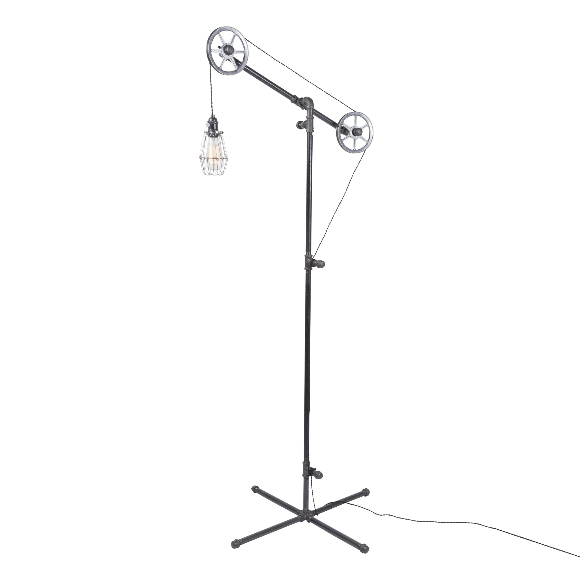 Industrial Floor Lamp (Silver Wheels)
