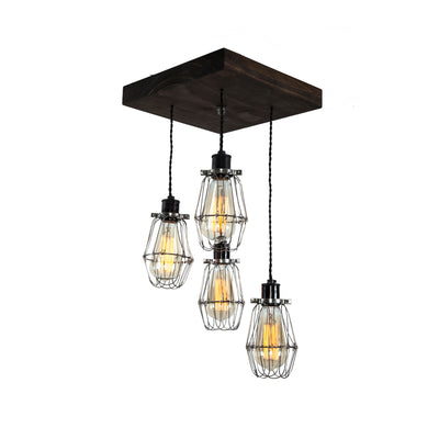 Flush Mount Wood Pendant Chandelier