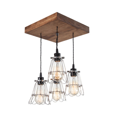Old Elm Wood Multi Pendant Farmhouse Chandelier | Early American