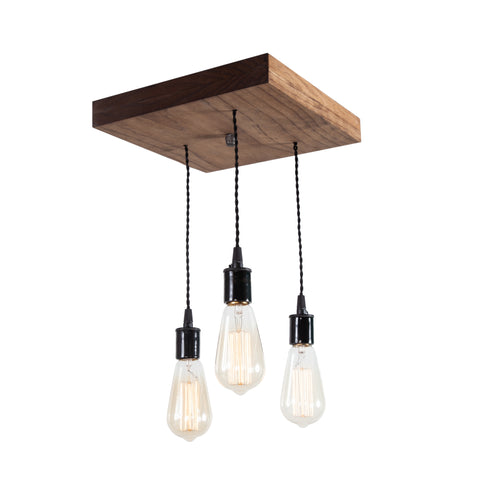 Flush Mount Wood Pendant Chandelier | Medium