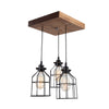 Flush Mount Wood Pendant Chandelier | Early American