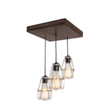 Flush Mount Wood Pendant Chandelier with optional cages