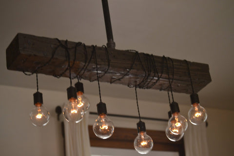 Wood beam chandelier west ninth vintage wood beam chandelier wood beam chandelier aloadofball