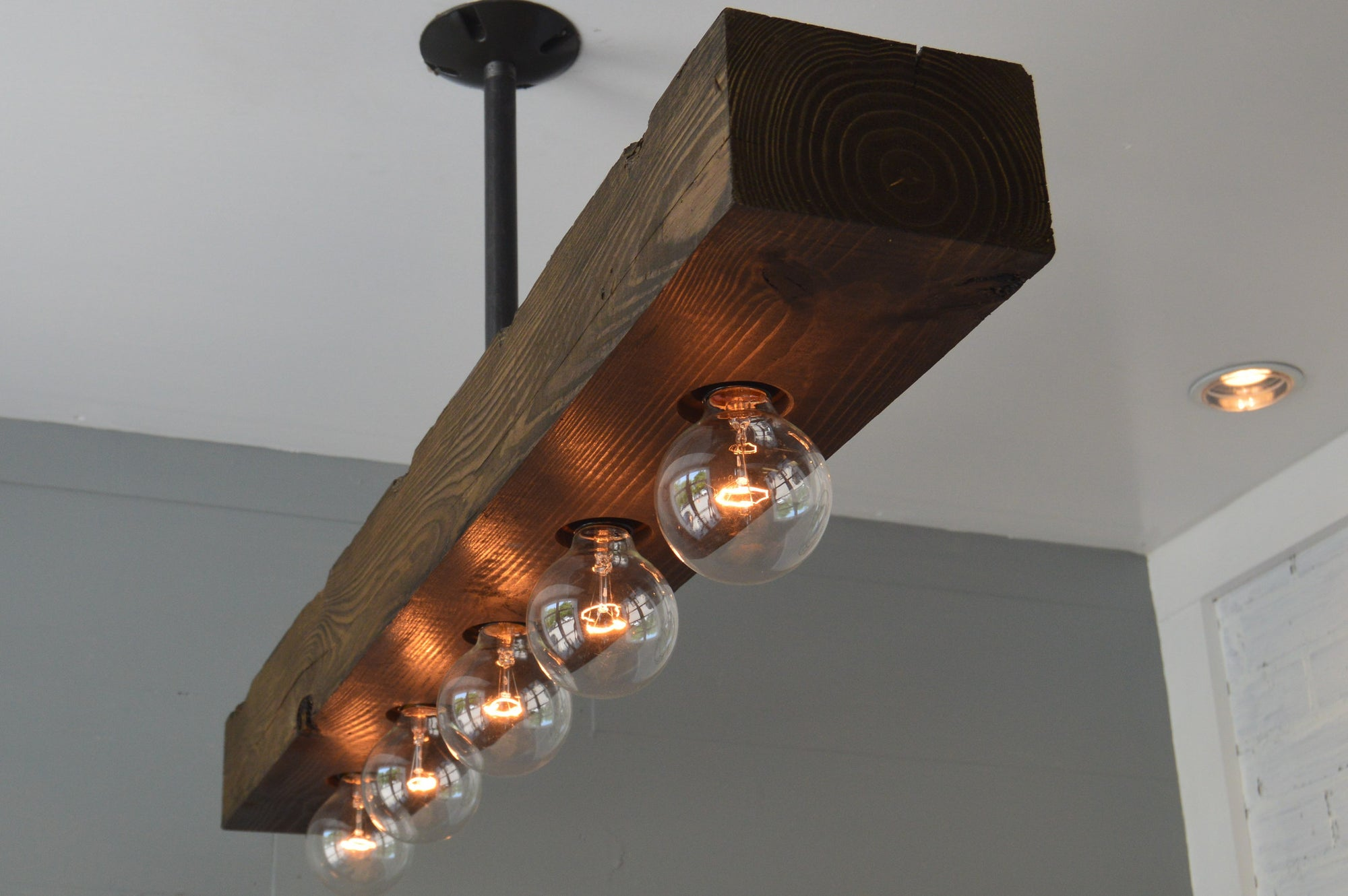 Recessed Wood Beam Chandelier