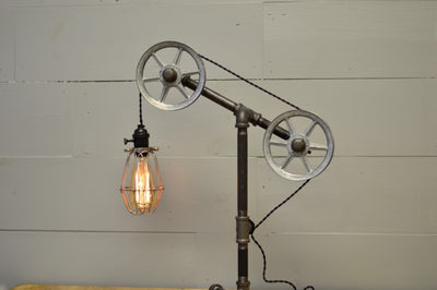 Industrial Table Lamp with Chrome Pulleys