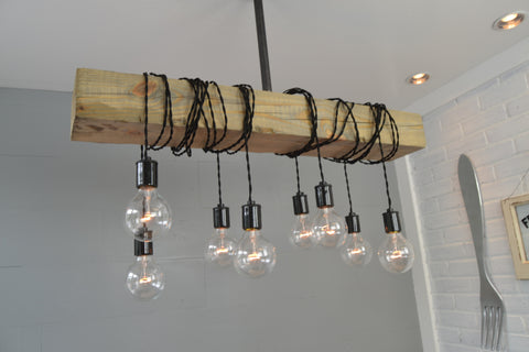 Wood Beam Chandelier (Natural Pine)