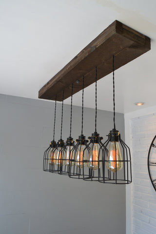 Wood Pendant Light W/Cages