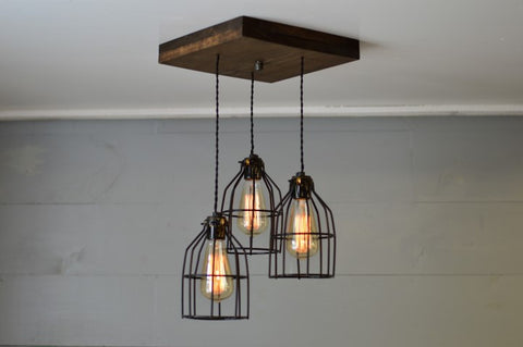 Flush Mount Wood Pendant Chandelier (BLACK CAGES)
