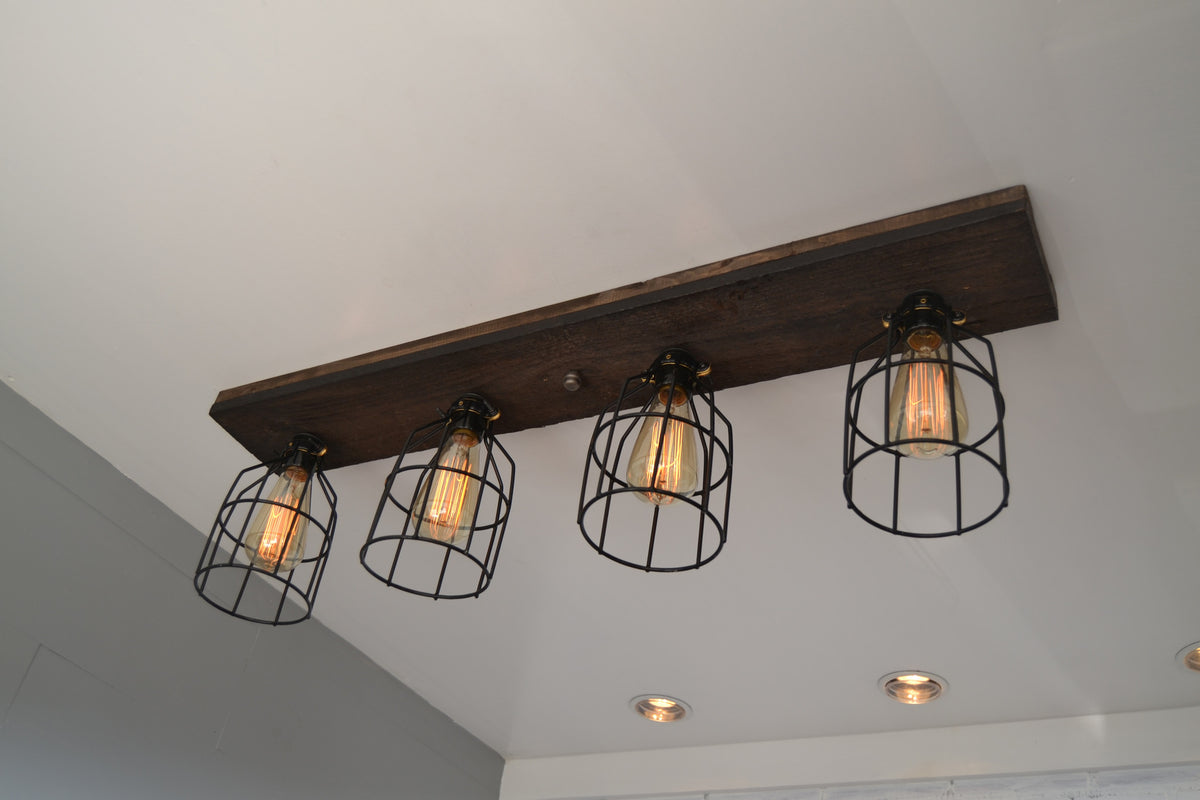 Wood Flush Mount Ceiling Light with cages | Jacobean