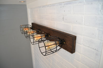 Wood Vanity Light with cages