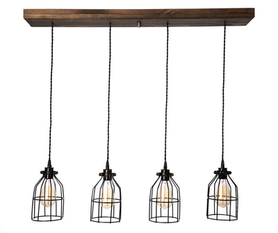 Wood Pendant Light - 4 pendants - Jacobean stain