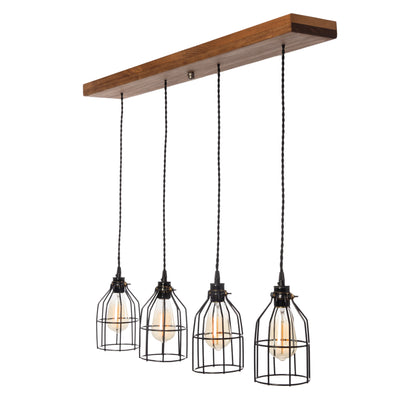 Wood Pendant Light - 4 pendants - Early American stain
