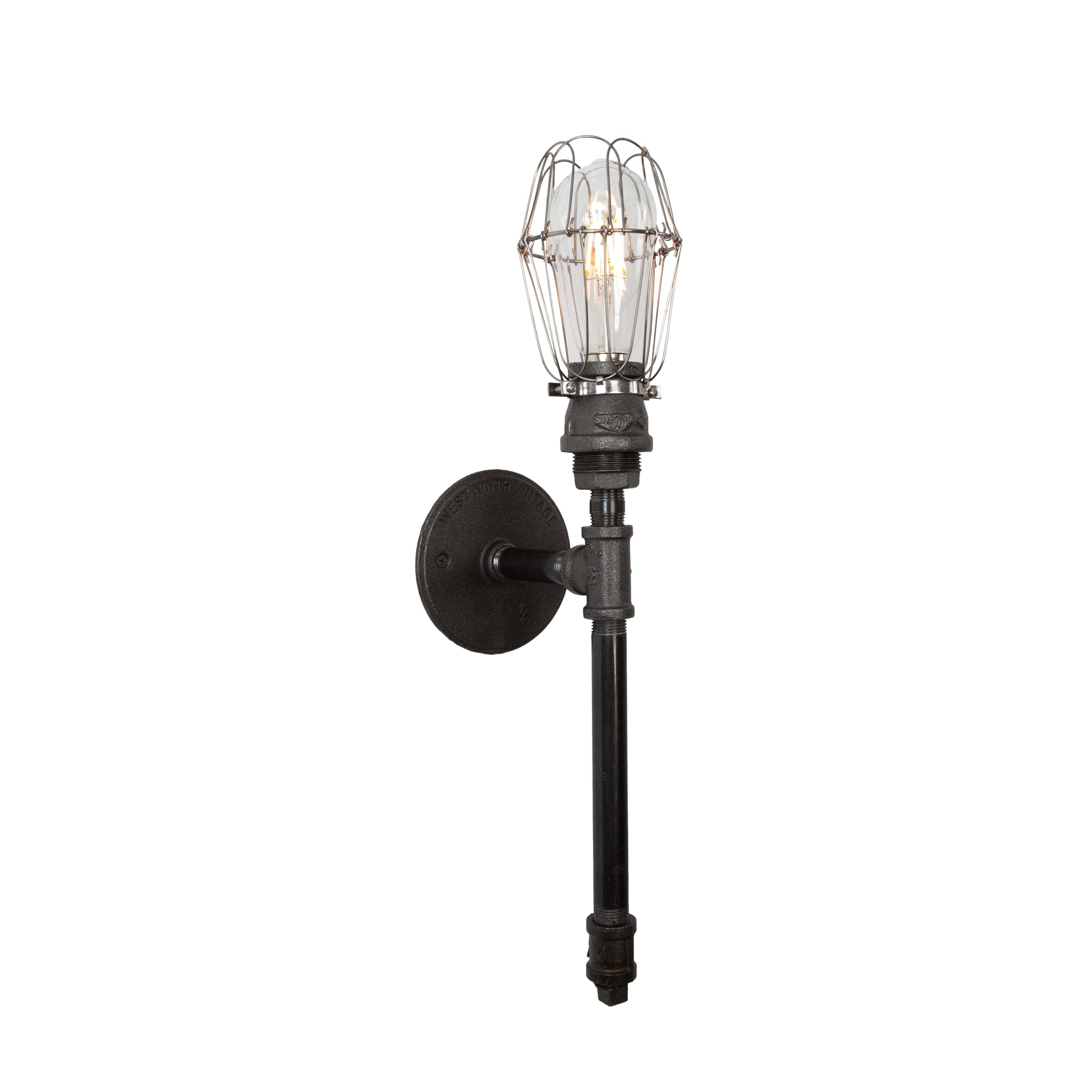 Devon Tall Torch Sconce | Wire Cages