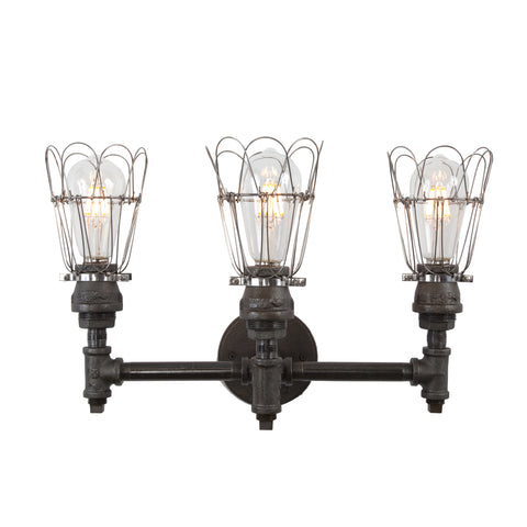 Devon Three Socket Vanity Light | Wire Cages