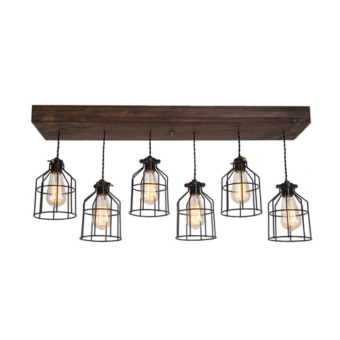 Wood Pendant Light with cages