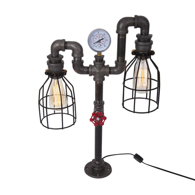 Industrial Table Lamp with Gauge and Red Handle