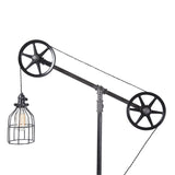 Industrial Floor Lamp with Black Steel Wheels