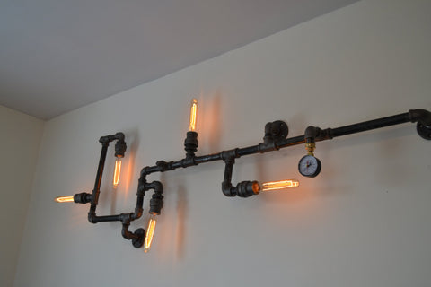 Industrial steampunk pipe wall light west ninth vintage industrial steampunk pipe wall light aloadofball Images