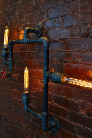 Medium Industrial Steampunk Pipe Wall Light