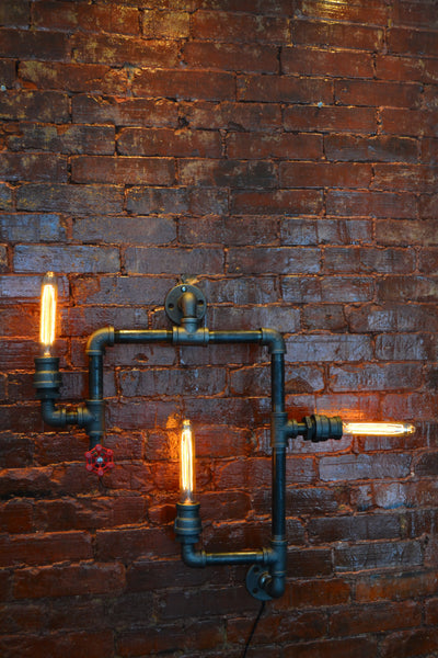 Industrial Steampunk Pipe Wall Light | Small