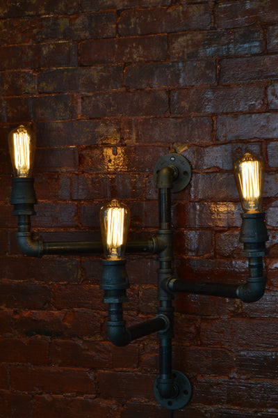 Triple Industrial Pipe Adjustable Wall Light