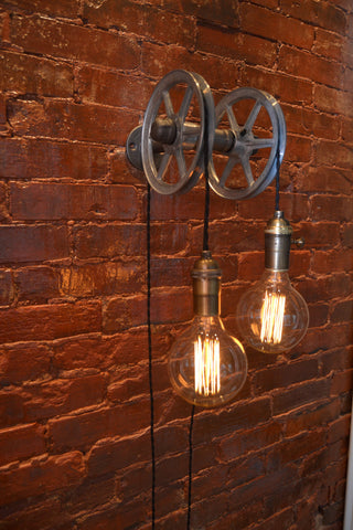 Double wall pulley light west ninth vintage - Lights to hang on wall ...