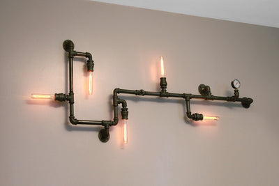 Industrial Steampunk Pipe Wall Light | Large