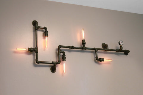 Industrial Steampunk Pipe Wall Light