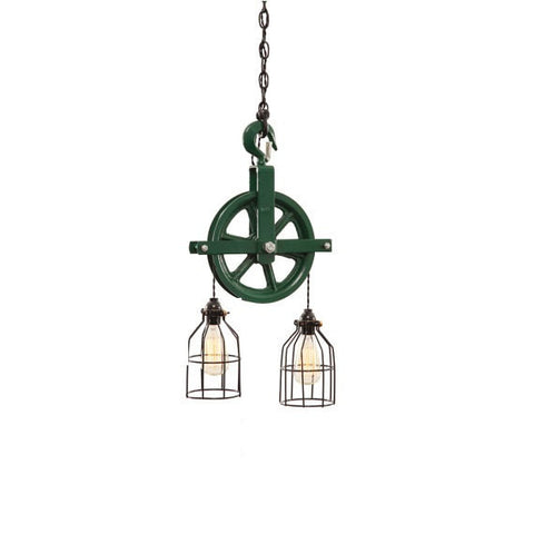 Barn Pulley Light - Green