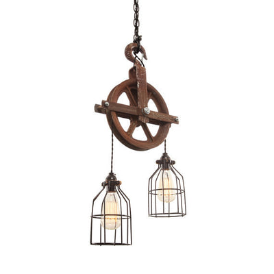 Barn Pulley Light | Rusted