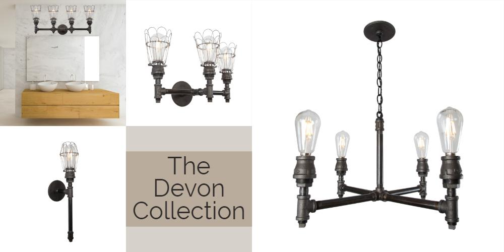 The Devon Collection of industrial lights authentic iron pipe light fixtures and decor