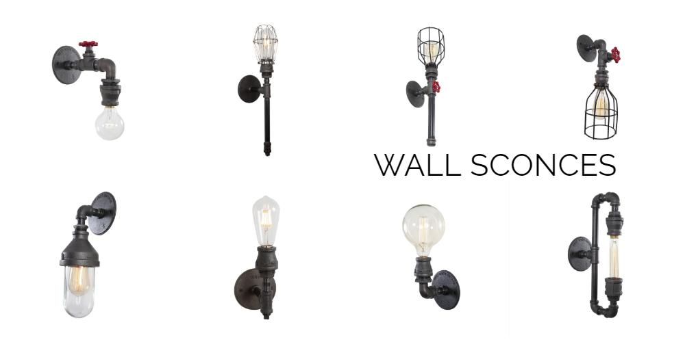 caged edison bulb on wall sconce,west ninth vintage