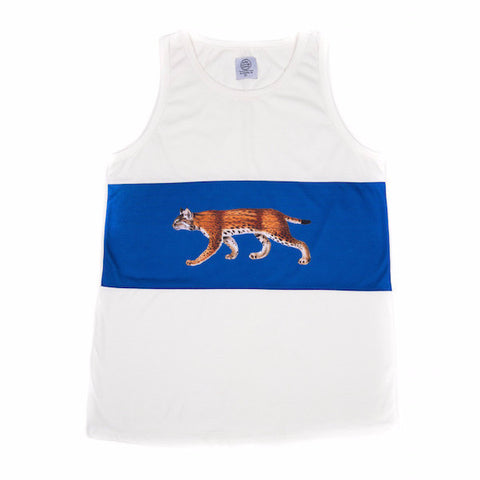 BOBCAT TANK - WHITE/BLUE