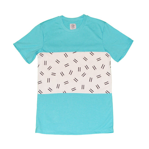 DOUBLE DASH TEE - TEAL/WHITE
