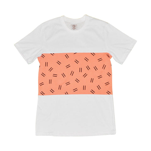 DOUBLE DASH TEE - WHITE/SALMON