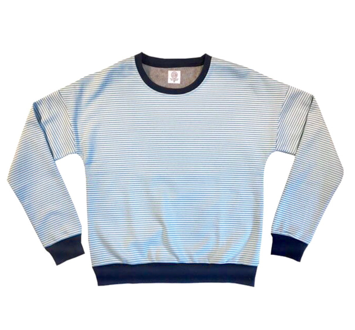 Hillside Striped Fleece Crewneck - Blue