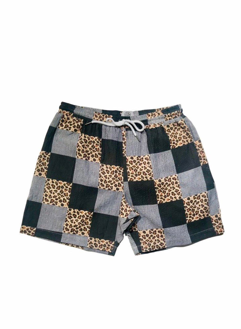 Leopard Print Seersucker Hybrid Swim Trunks - Grey/Black