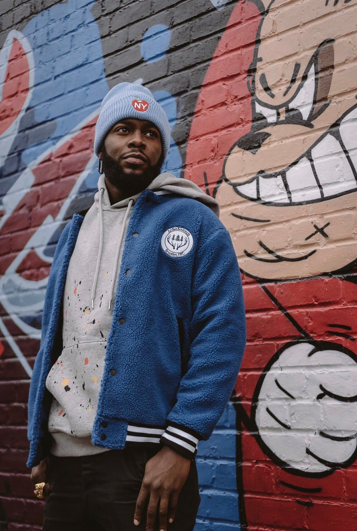 Arts Club Sherpa Varsity Jacket - Blue
