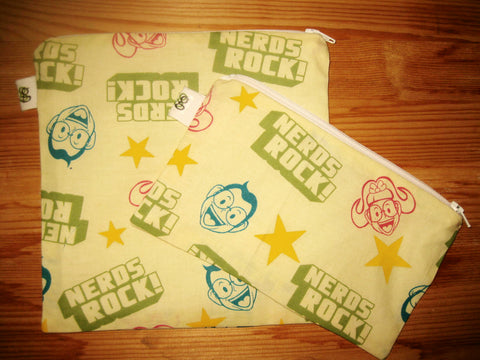 Reusable Zipper Sandwich & Snack Bags BPA Free Eco Friendly Geekery Set of 2 Nerds rock print sku 1030
