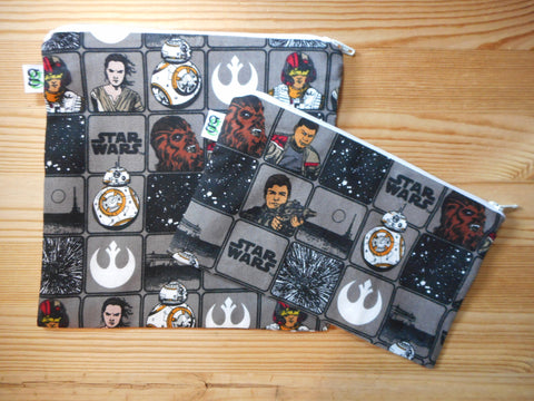 Reusable Zipper Sandwich and Snack bags BPA Free Eco Friendly Set of 2 Star Wars print bb-8