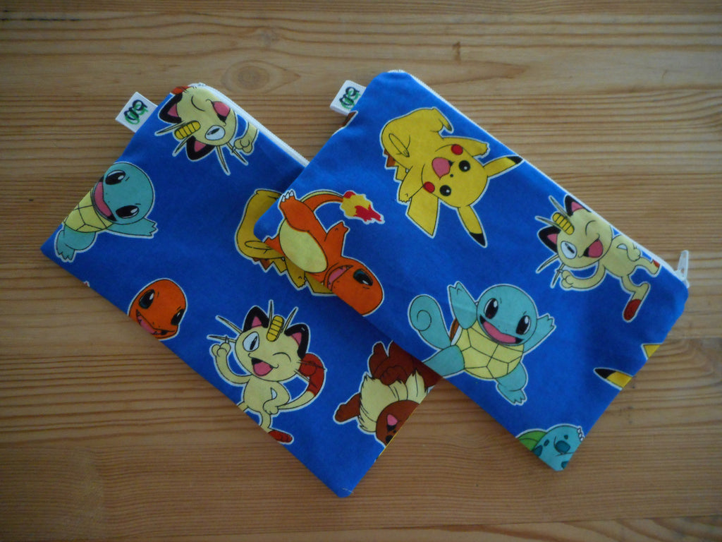 Reusable Zipper Snack Bags BPA Free Eco Friendly Set of 2 Pokemon Print Pikachu Charmander Eveee Bulbasaur - groovygurls