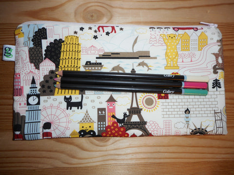 Kawaii World Traveler Print Zipper Pouch / Pencil Case / Make Up Bag / Gadget Sack Unique organizer - groovygurls