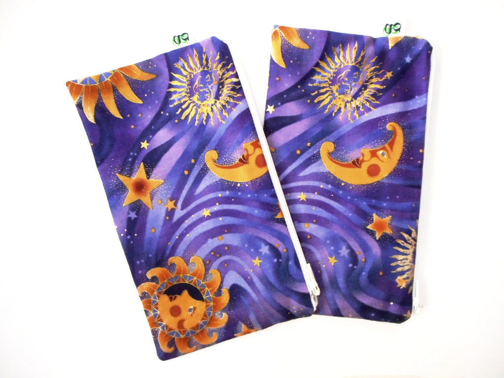 Reusable Zipper Snack Bag Eco-Friendly Sun Stars and Moon print Set of 2 - groovygurls