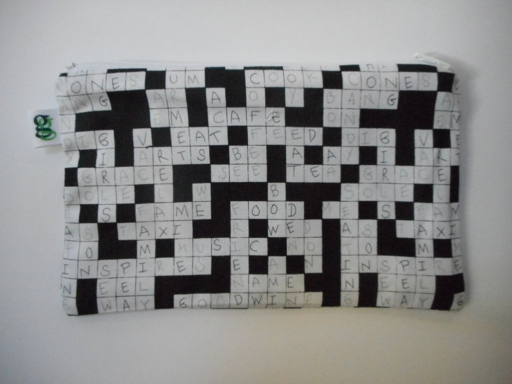 Stocking stuffer Reusable Zipper Snack Bag Eco-Friendly Crossword puzzle print - groovygurls