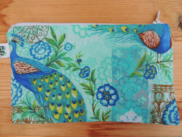 Reusable Zipper Sandwich & Snack Bags BPA Free Eco Friendly Set of 2 Peacock Blue and Green Print