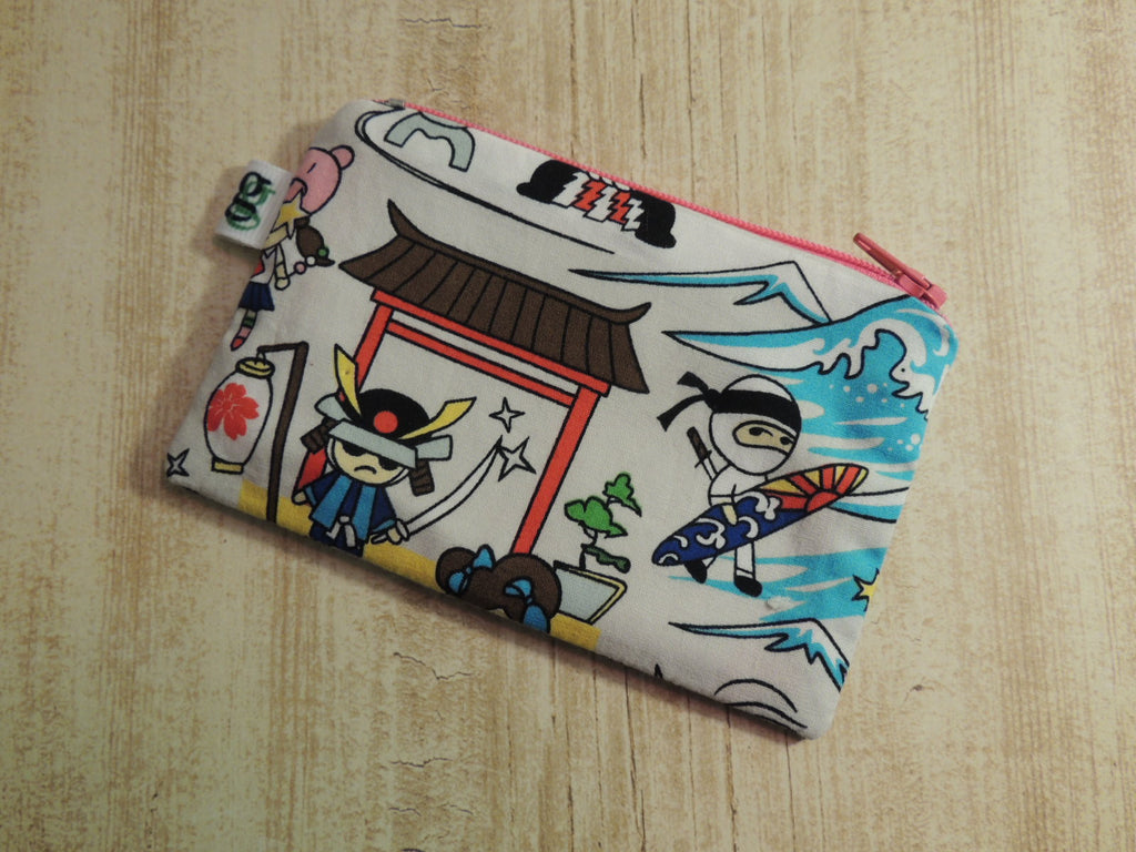Padded Zippered Pouch purse Gadget Coin /accessory Case - Anime Samurai print - groovygurls