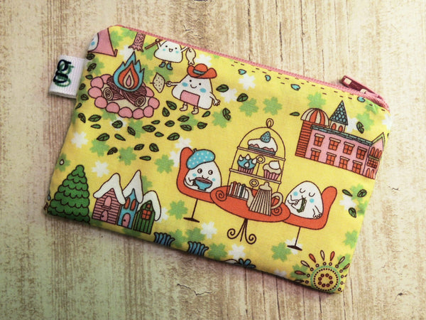Padded Zip Pouch purse Gadget Coin Case - Japanese anime rice ball mochi print