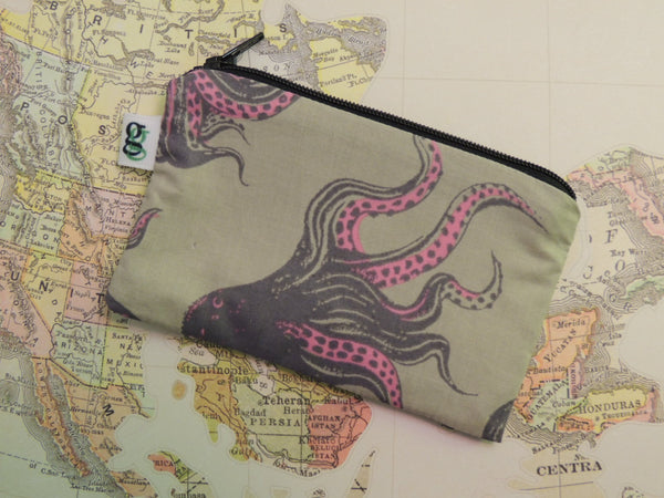 Padded Zippered Pouch purse Gadget Coin /accessory Case - Octopus pink and grey print - groovygurls
